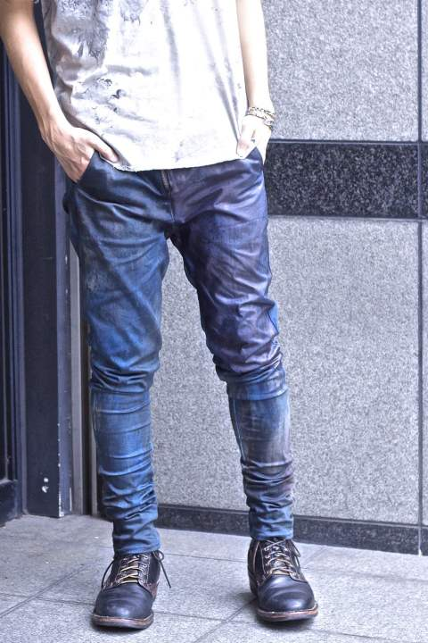 Leather Combination Pants PATINA INDIGO BLUE