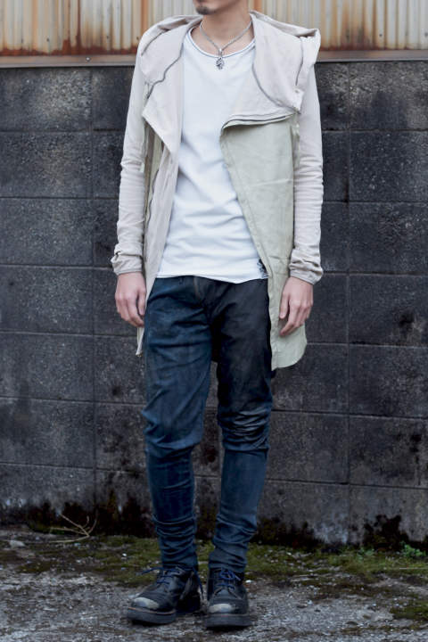 Leather Hoodie Long ECRU