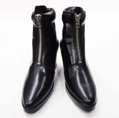 FRONT ZIP HEEL BOOTS(GLASS BLACK)